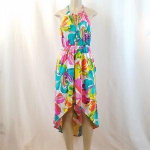 Trina Turk Floral Hi-Lo Halter Dress